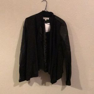Black cotton and leather jacket